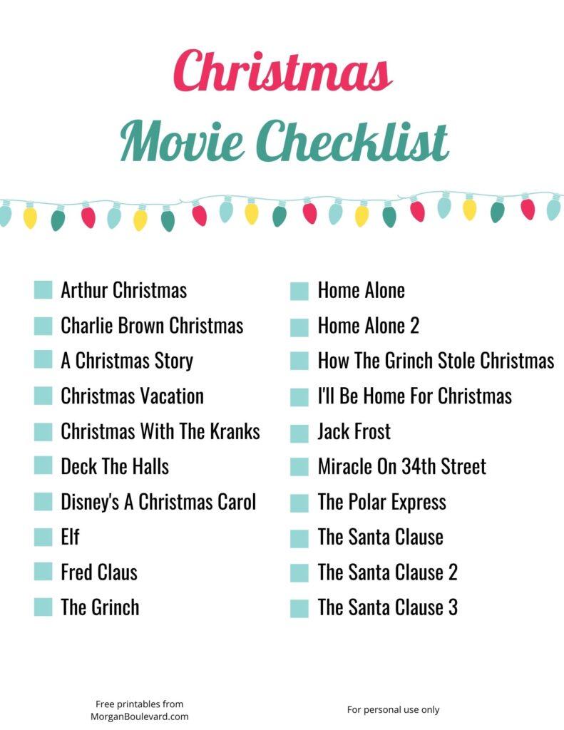 free christmas movie checklist printable