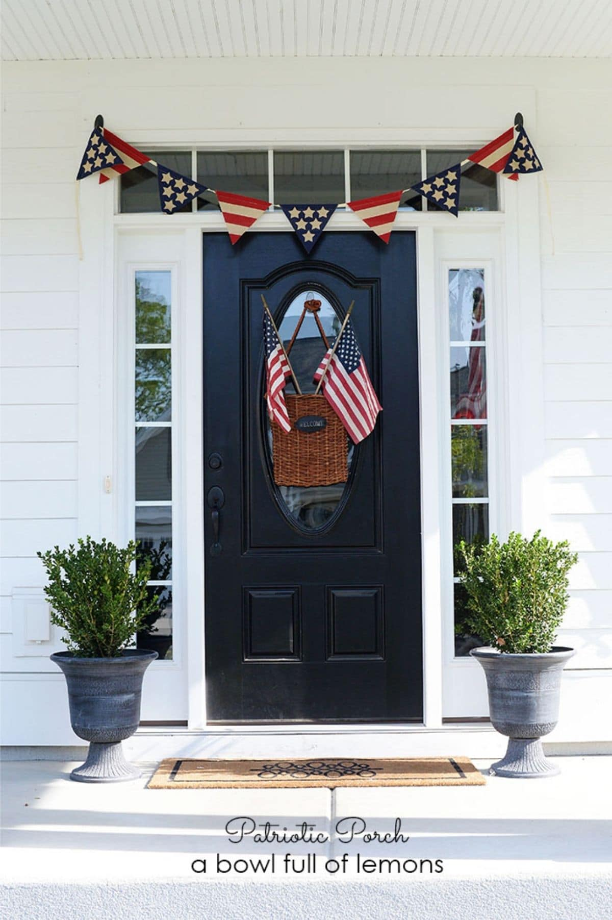 independence day porch with flags and flag banner