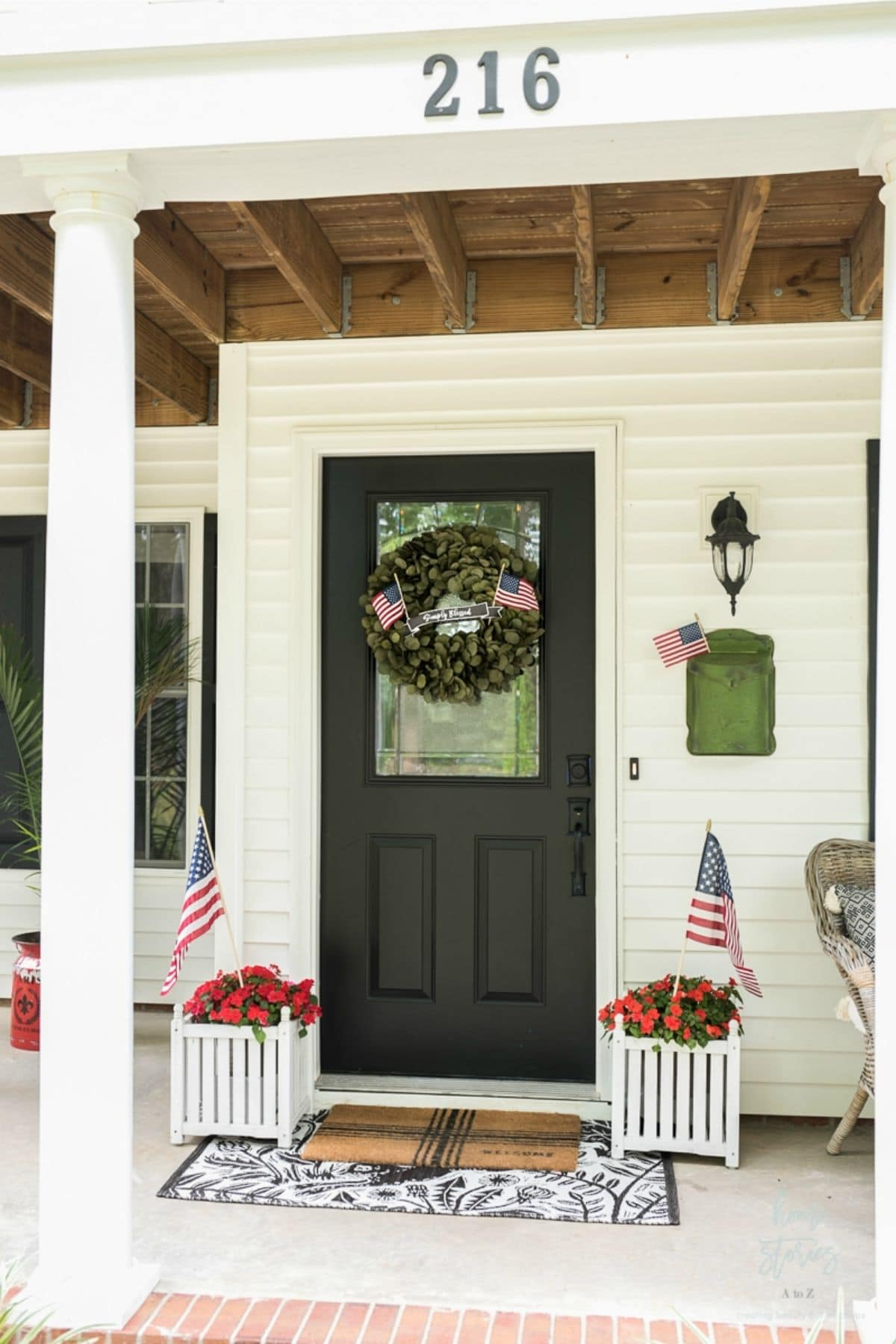 porch with small american flags