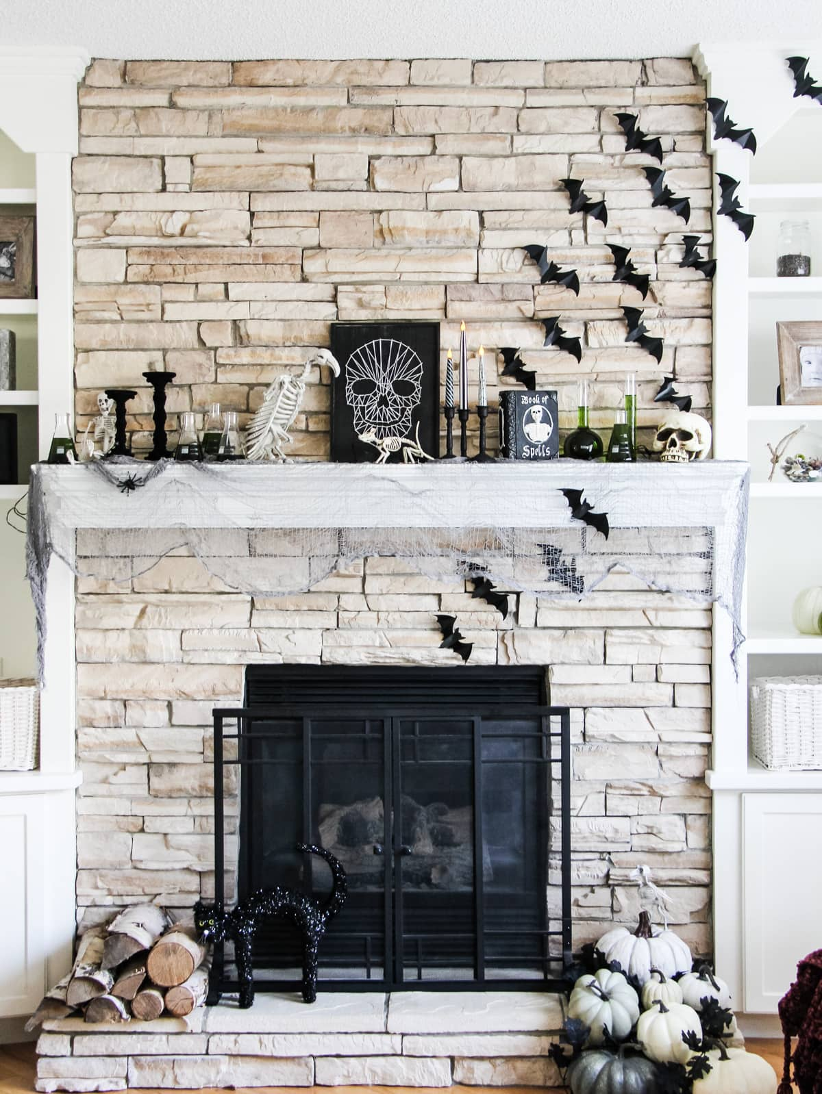 mantel with lots of bats and animal skeletons