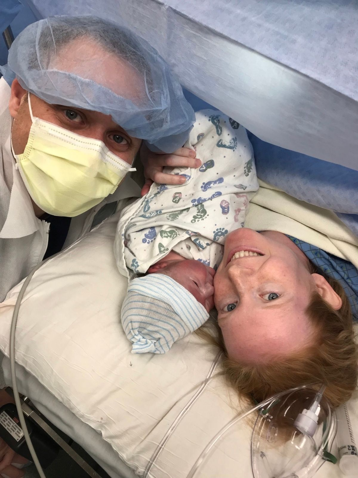 holding baby after c-section